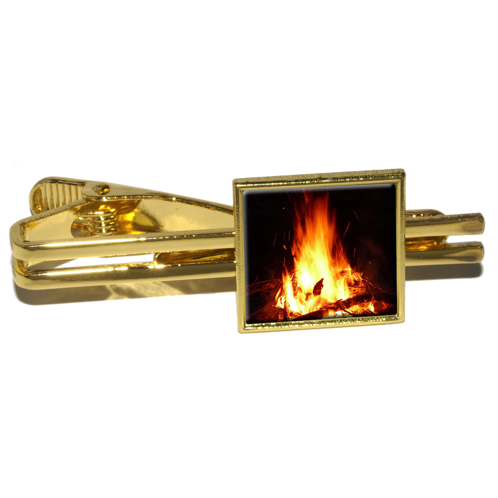 Campfire - Camp Camping Fire Pit Logs Flames Square Tie Clip