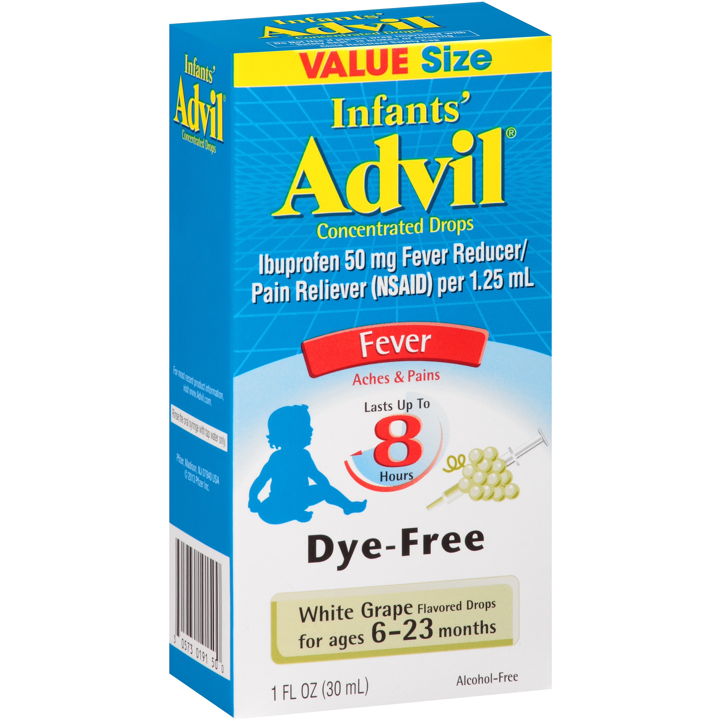 Infants' Advil Fever White Grape Fever Reducer/Pain Reliever Concentrated Drops, 1 fl oz
