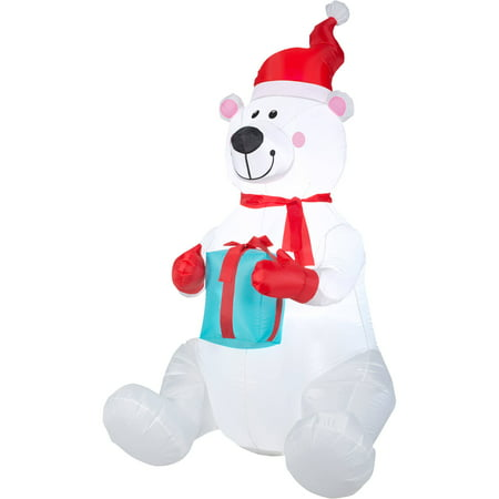 Gemmy airblown christmas inflatables 6 39 polar bear for Animated polar bear christmas decoration