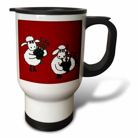 3dRose Funny Sheep Playing Bagpipes, Travel Mug, 14oz, Stainless Steel