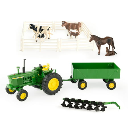 John Deere Toy Tractor Set, 4020 Tractor & Farm Toy Playset, 1:32 Scale, 20