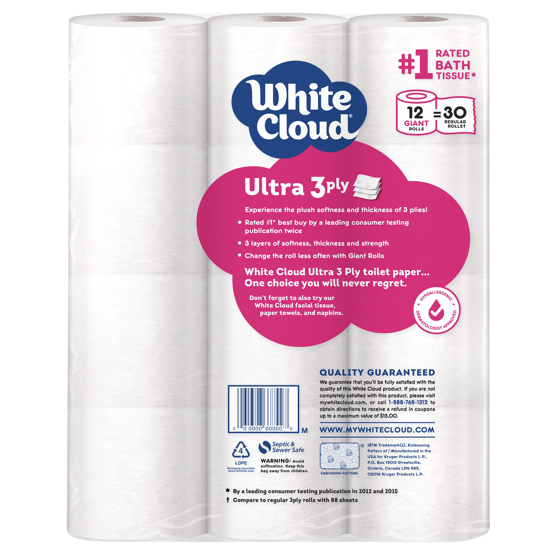 White cloud bathroom tissue - White Cloud Toilet Paper Ultra Soft Thick 12 Giant Rolls Walmart Com