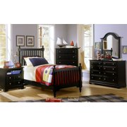 5 Pc Youth Slat Poster Bedroom Set in Black Finish (Twin)