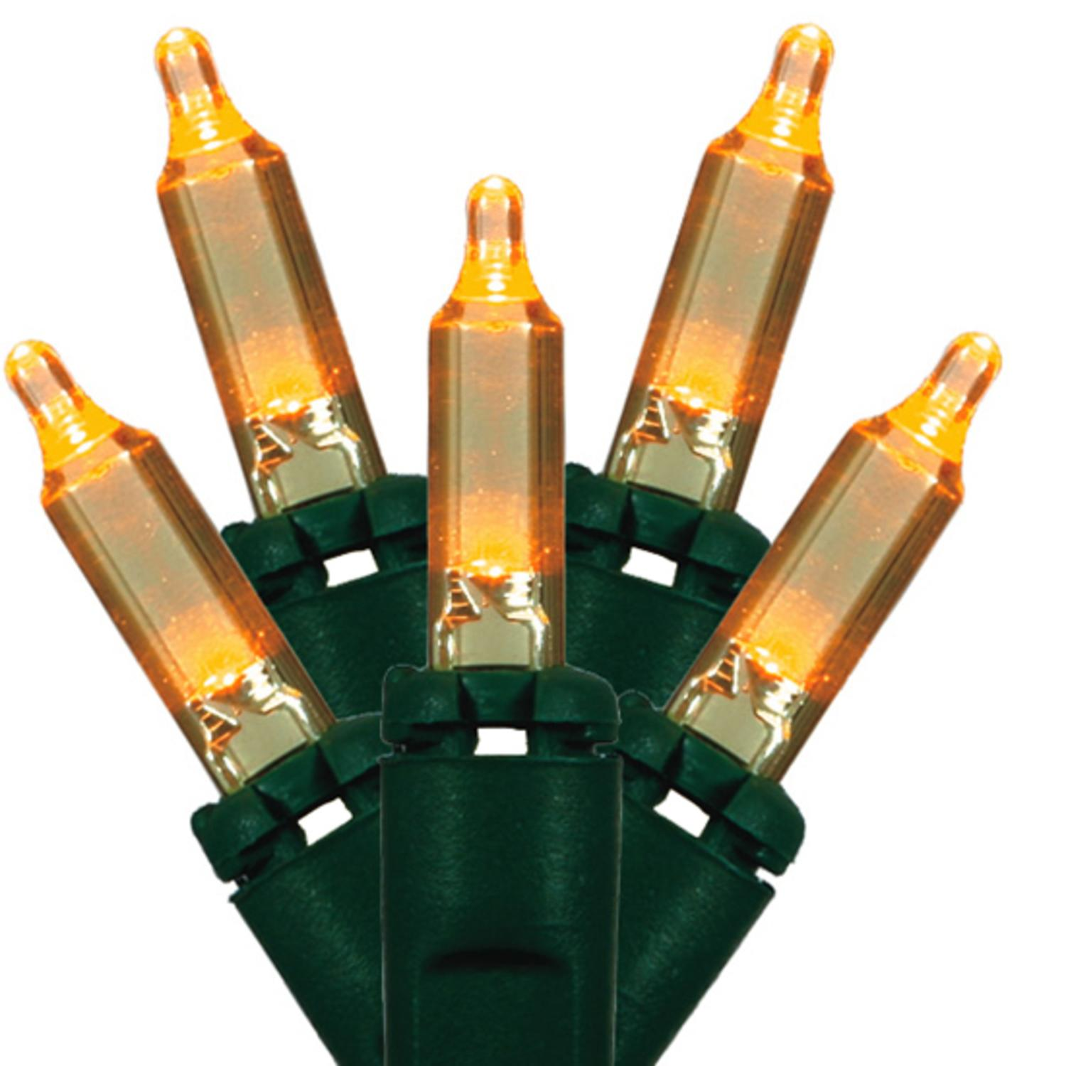 Set of 50 LED Orange Mini Christmas Lights - Green Wire