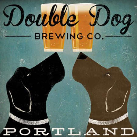 Double Dog Brewing Co Portland Black Labradors by Ryan Fowler 12x12 Beer Signs Dogs Labrador Animals Art Print Poster Vintage Advertising](Portland Trading Co)