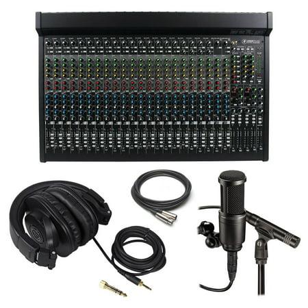 Mackie 2404Vlz4 24 Channel Mixer At2041sp Recording Mics Headphones Xlr Cable