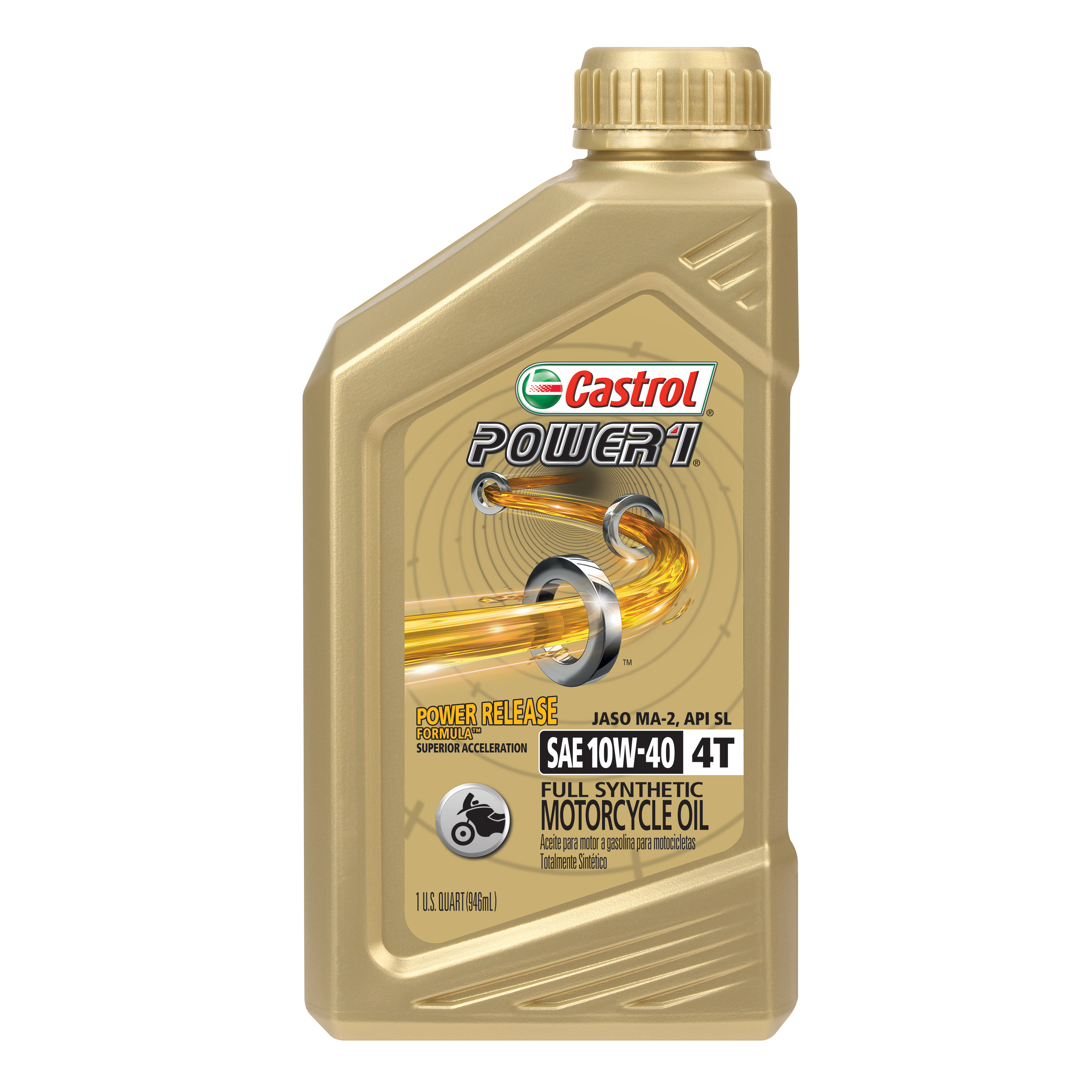Castrol Power1 4T 10W-40 Full Synthetic Motorcycle Oil, 1 Qt Bottle