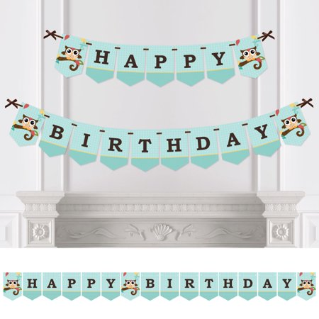 Owl - Birthday Party Bunting Banner - Aqua Party Decorations - Happy Birthday - Owl Birthday Party