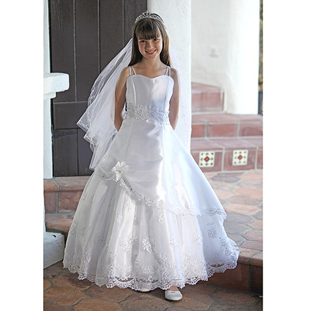 Angels Garment Girls Satin Lace First Communion Dress Set 7-18