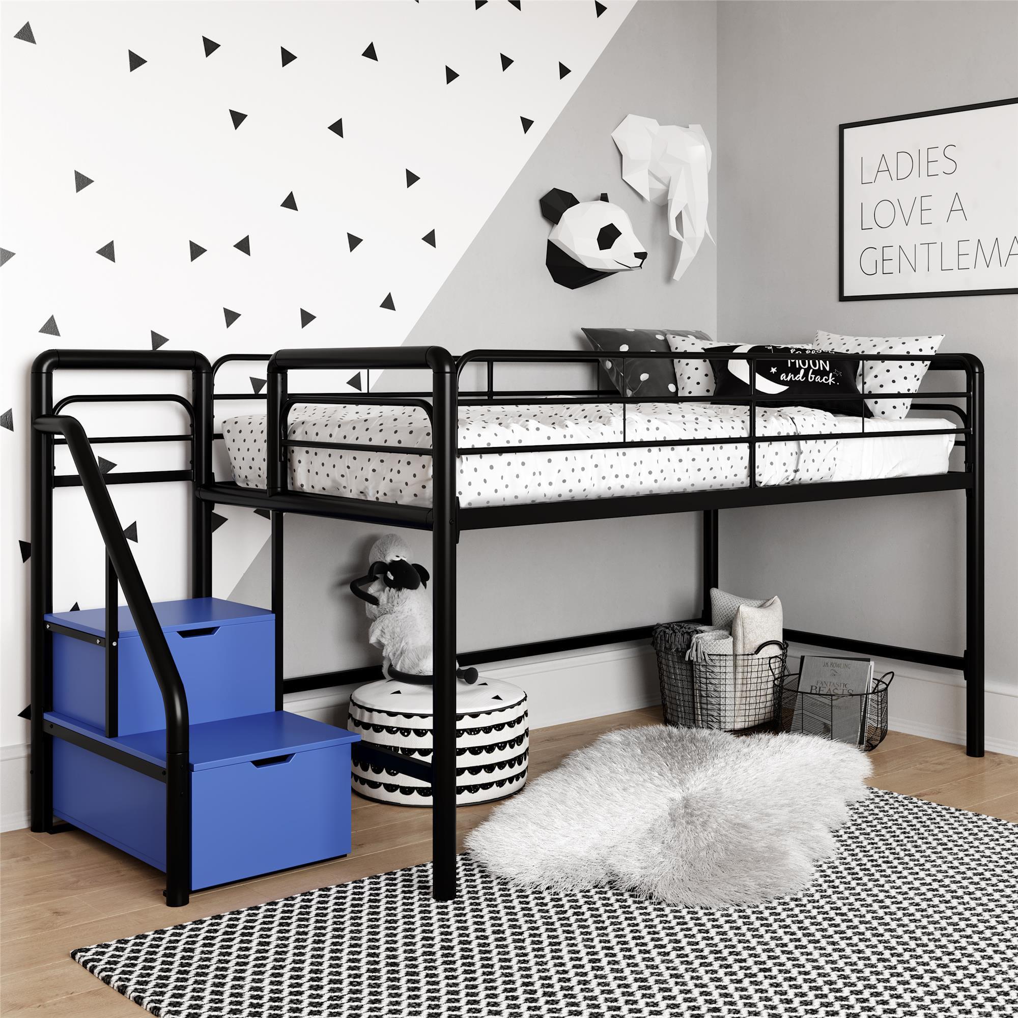 Picture of: Junior Twin Loft Bed With Storage Steps Black Walmart Com Walmart Com