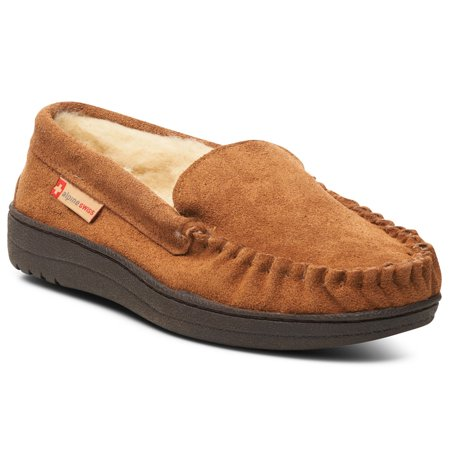 Alpine Swiss Yukon Mens Suede Shearling Moccasin Slippers Moc Toe Slip On Shoes (Minion Men Slippers)