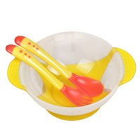 Suction Baby Bowls Set for Toddler and 6 Months Solid Feeding, with Temperature Spoon and Fork