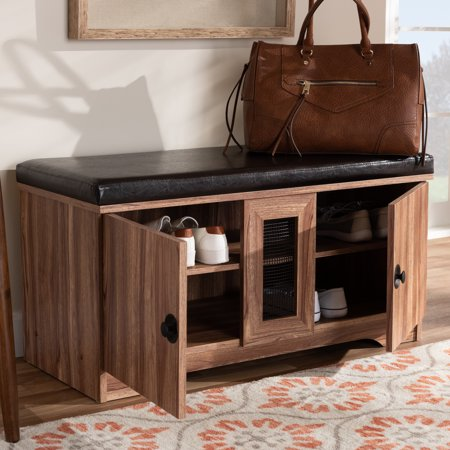 Baxton Studio Valina Modern and Contemporary Dark Brown Faux Leather Upholstered 2-Door Wood Shoe Storage Bench ()
