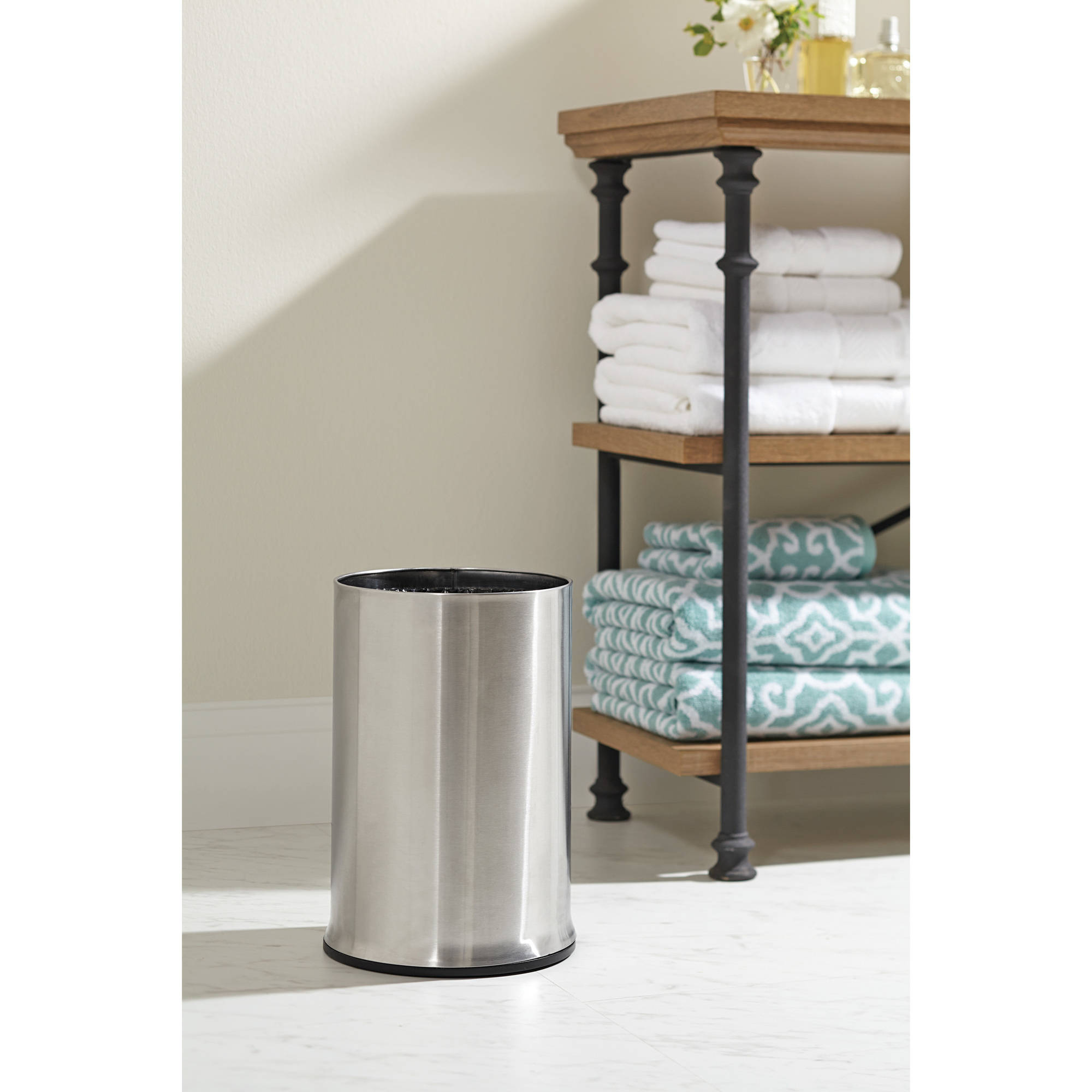 Better Homes and Gardens Stainless Steel 8L Round Slide On Trash Can