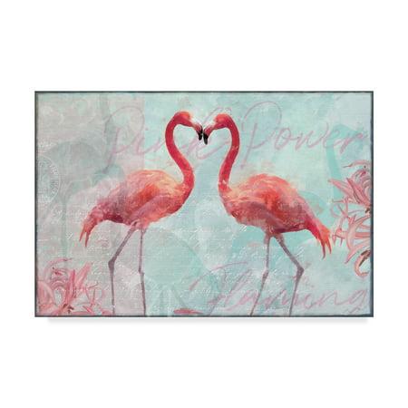 Trademark Fine Art 'Flamingo Power' Canvas Art by Cora (Flamingo Art)