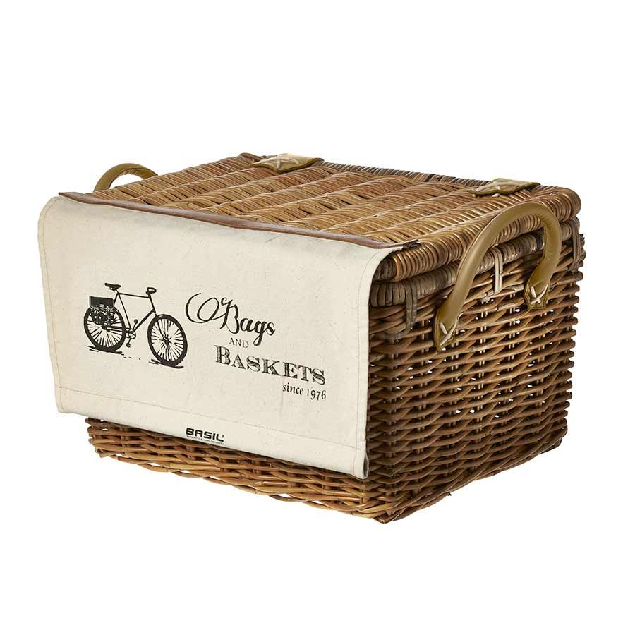 Basil, Portland Basket w/Cover, Rattan, Natural Brown