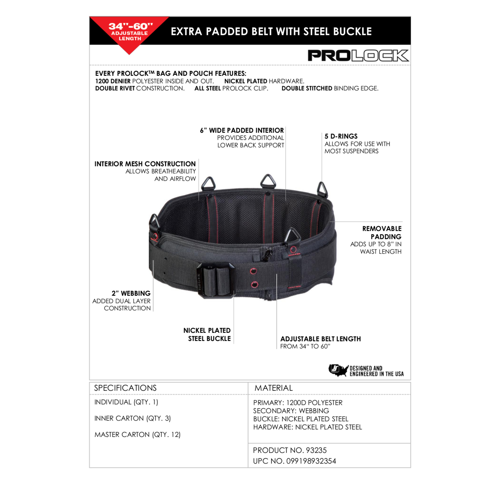 PROLOCK 93235 Extra Padded Sling Belt with Steel Buckle