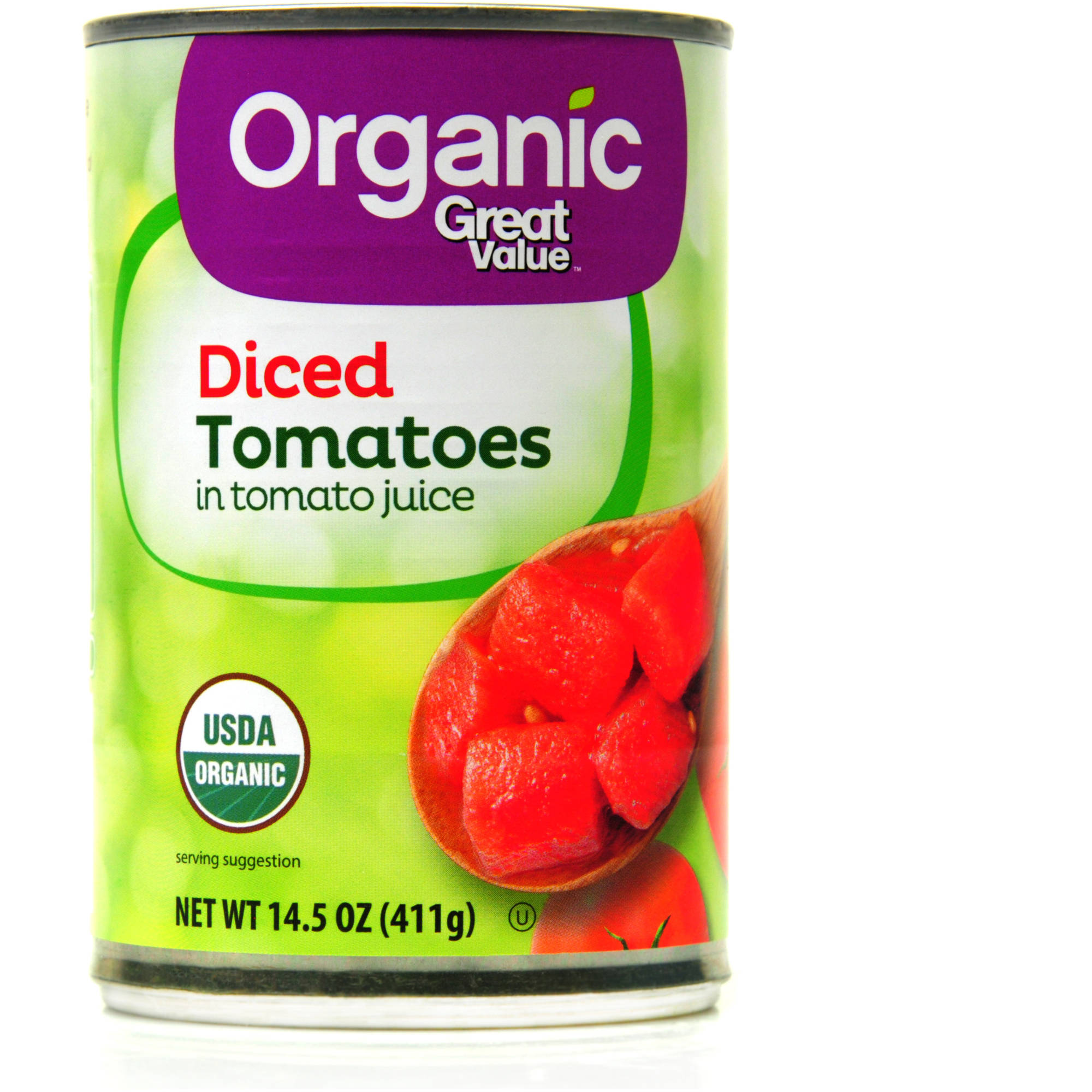 Great Value Organic Diced Tomatoes, 14.5 oz