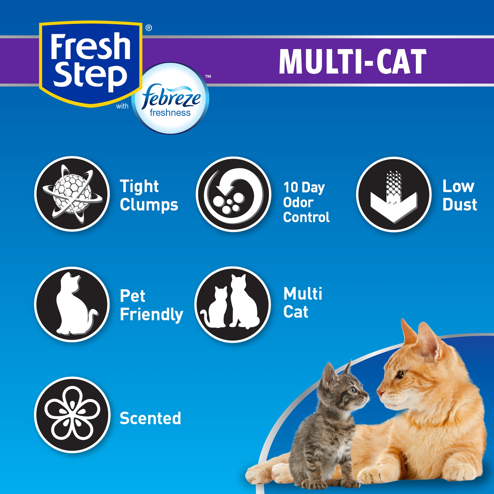 Fresh Step Multi-Cat Scented Litter with the Power of Febreze, Clumping Cat  Litter, 14 lbs