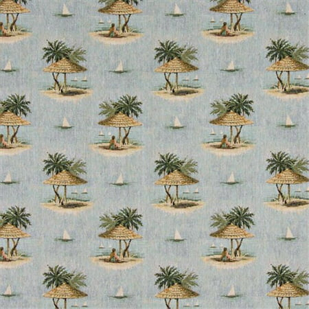 Designer Fabrics A000 54 in. Wide , Sailboats, Palm Trees And Shade Umbrella, Themed Tapestry Upholstery Fabric ()