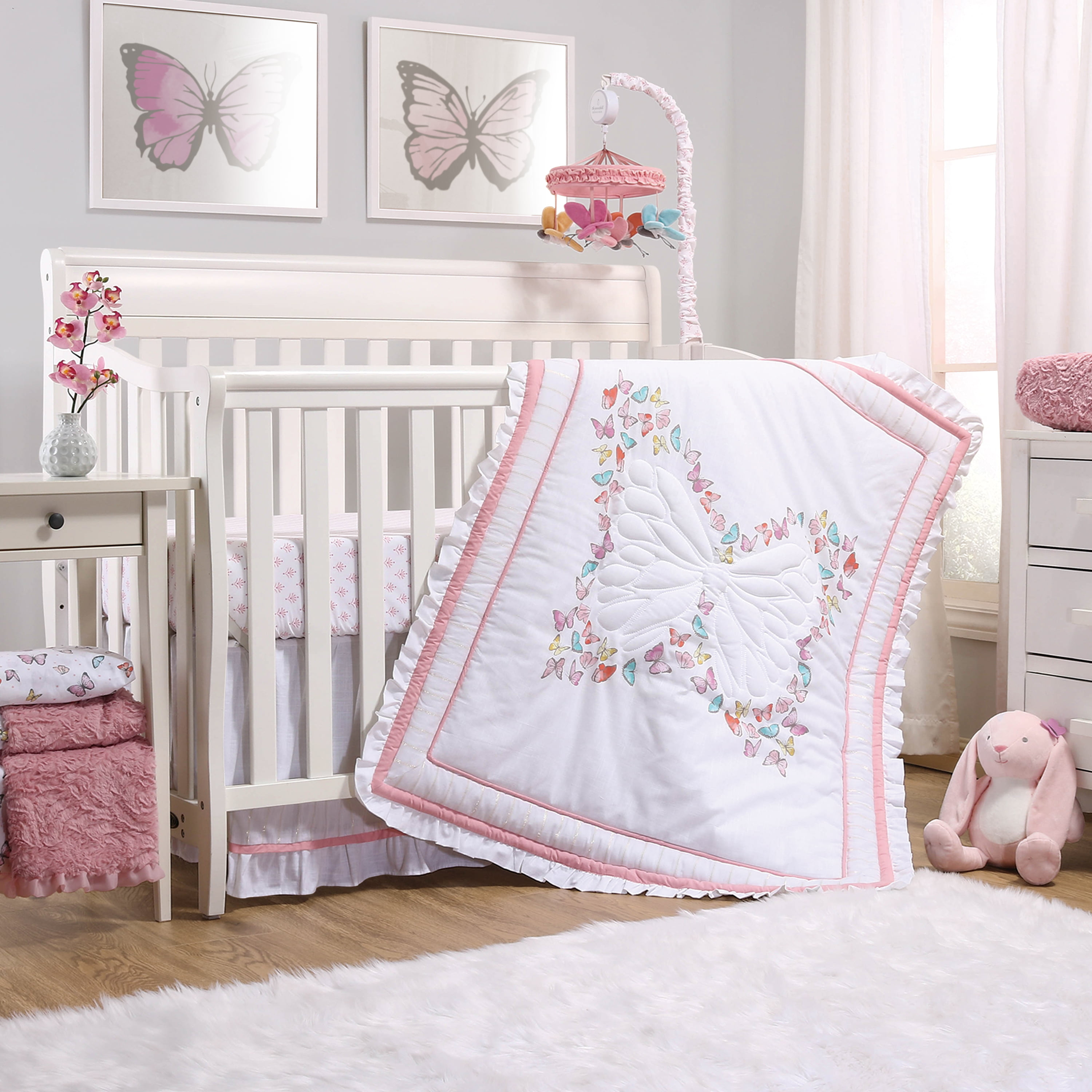 the peanutshell butterfly crib bedding set for baby girls