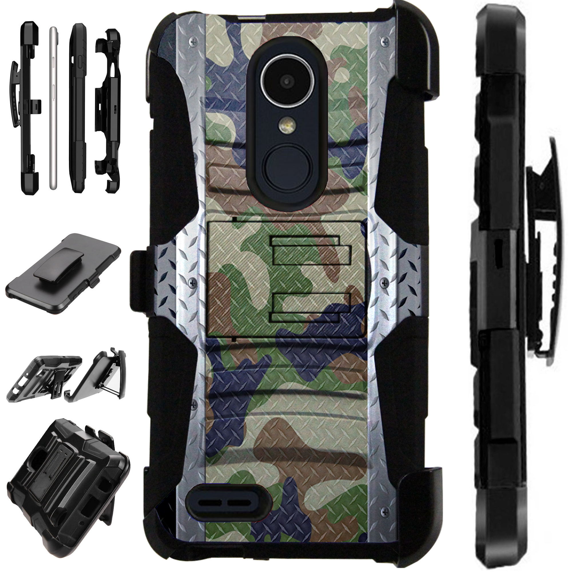 For LG Rebel 4 | LG Rebel 3 Case Armor Hybrid Silicone Cover Stand LuxGuard Holster (Multi Camo Crosshatch)