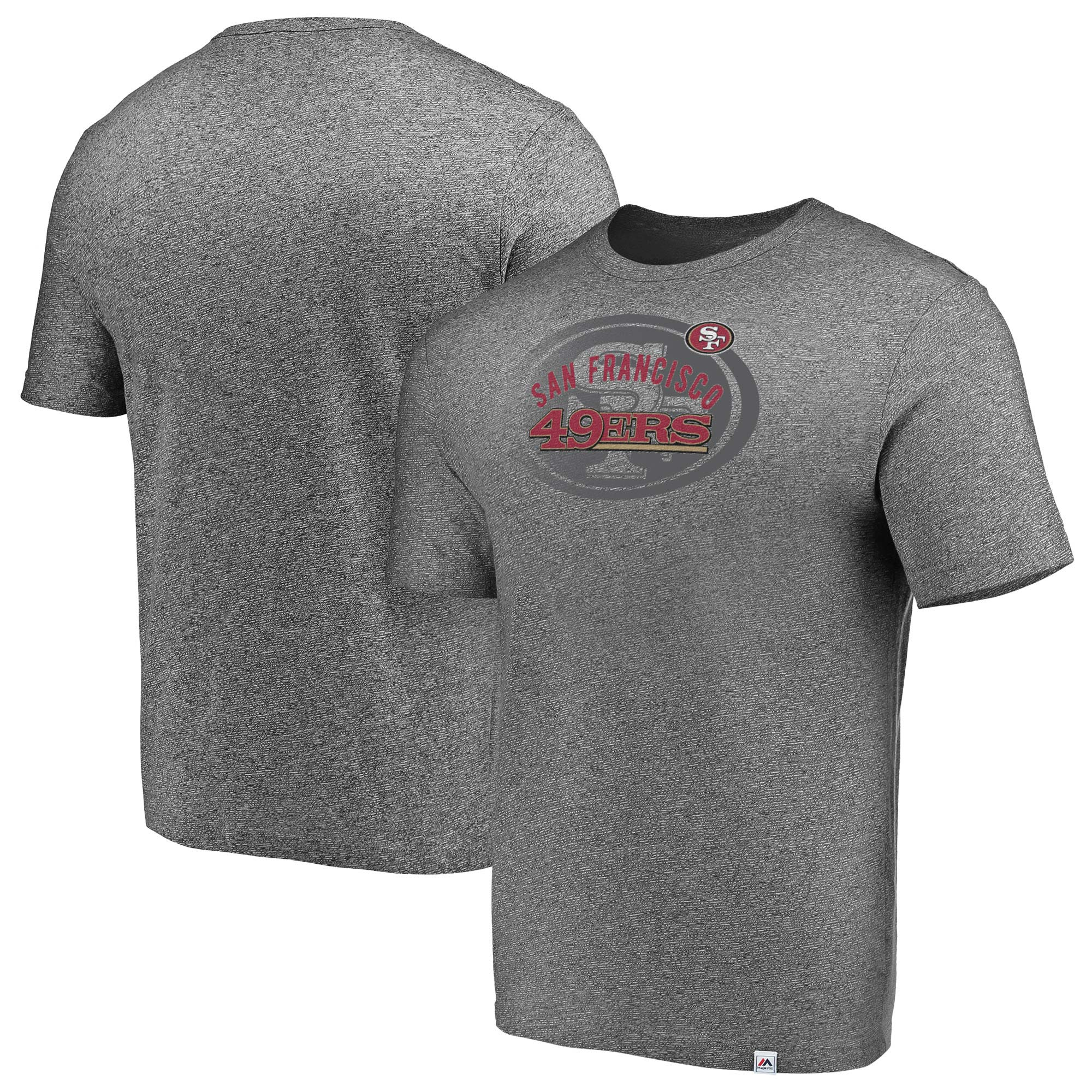 San Francisco 49ers Majestic Static Fade Marled T-Shirt - Heathered Gray