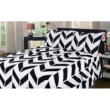Full Navy Blue Chevron Bed Sheet Set Flat Fitted Pillowcase Sheet