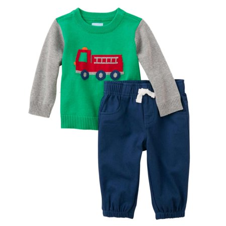 Childrens Place Infant Boys Outfit Green Fire Truck Sweater Blue Pants Set This handsome baby boys outfit features a green sweater with a fire truck design and blue pants. Perfect for any special occasion!2 Piece OutfitSize: Infant BoysSweater: 100% cottonPants 100% cottonPerfect for any special occasionBrand: The Childrens Place