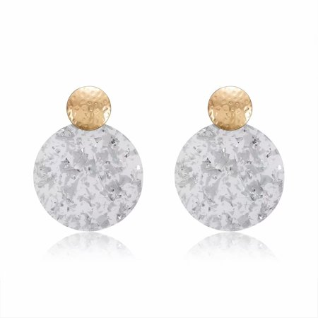 Ladies Fashion Retro Acrylic Geometric Round Drop Earrings Eardrop Women Gift