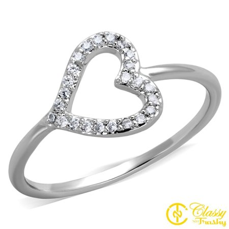 Classy Not Trashy® Women's Brass Clear CZ Simple Band Heart Shape Cut Out Ring - Size 7