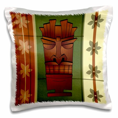 3dRose Wood grain Tropical Tiki Mask - Hawaiian Flowers Green and Cream, Pillow Case, 16 by 16-inch
