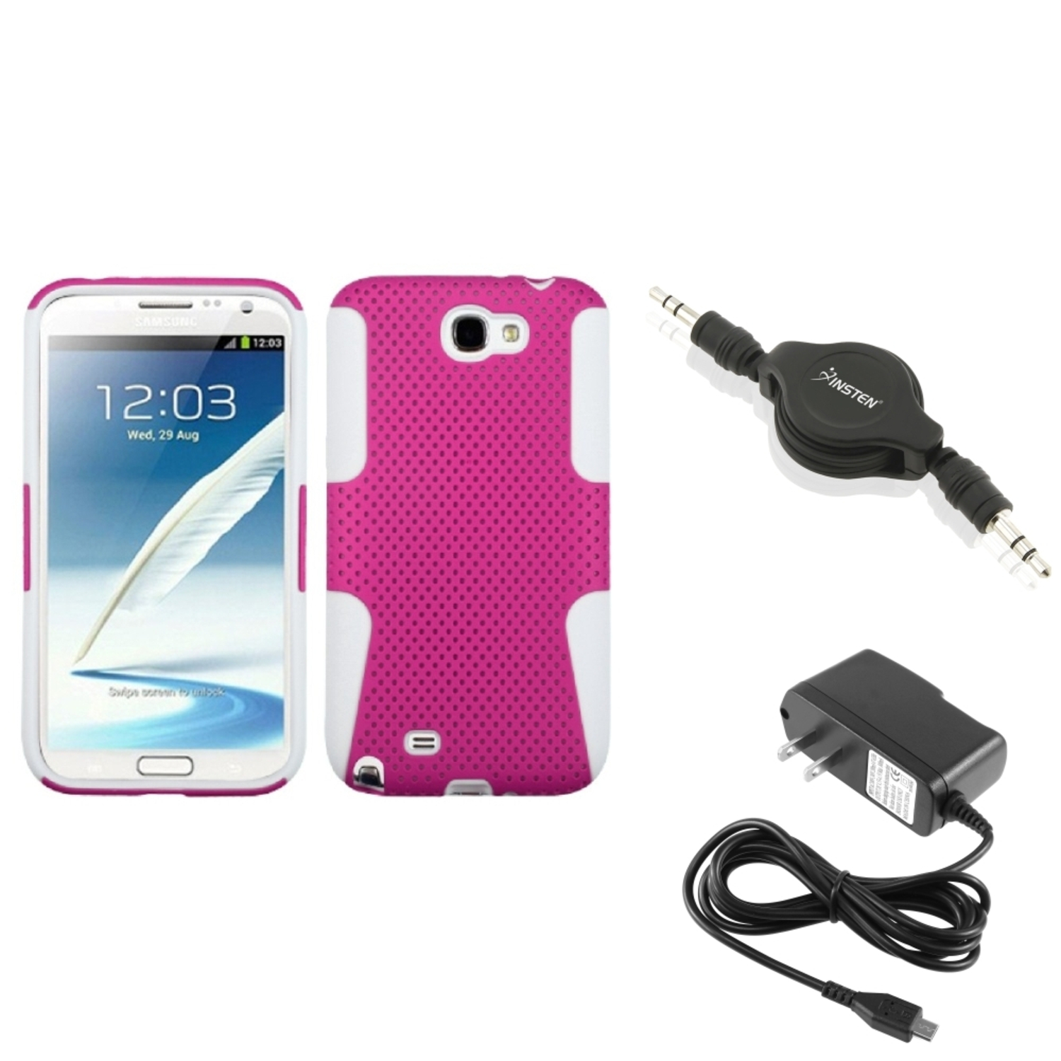 Insten White/Pink Hybrid Case+AC Wall Charger+Audio Cable For Samsung Galaxy Note 2 II