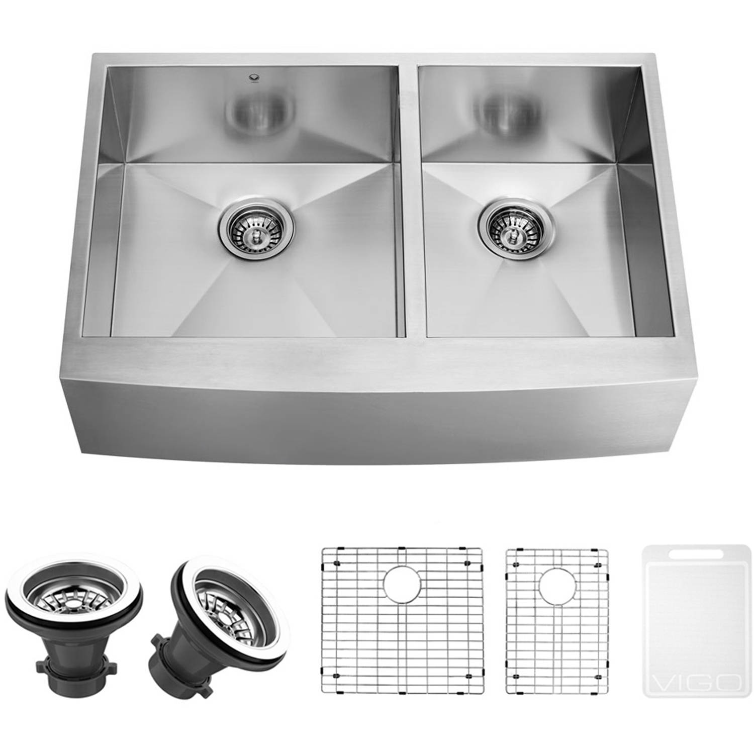 "Vigo 36"" Farmhouse Stainless Steel Kitchen Sink, 2 Grids and 2 Strainers"