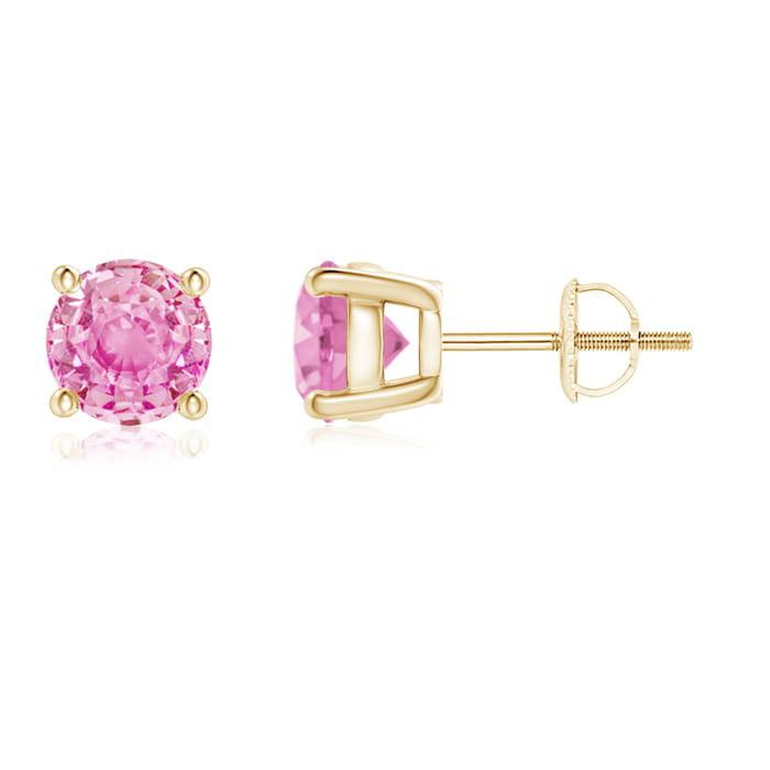 Angara Pink Sapphire and Diamond Basket Stud Earrings in 14k Yellow Gold 7TlzaqHzzg