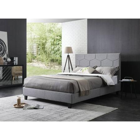 sports shoes e19ba 7bf82 Hodedah Grey Linen Upholstered Panel Bed, Multiple Sizes