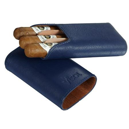 Visol VCASE8000BL Cuero Genuine Blue Leather 3 Finger Cigar Case