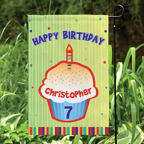 Personalized Happy Birthday Garden Flag , Green