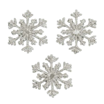 Expo Int'l Christmas Small Branch Snowflake Iron-on Applique Pack of 3