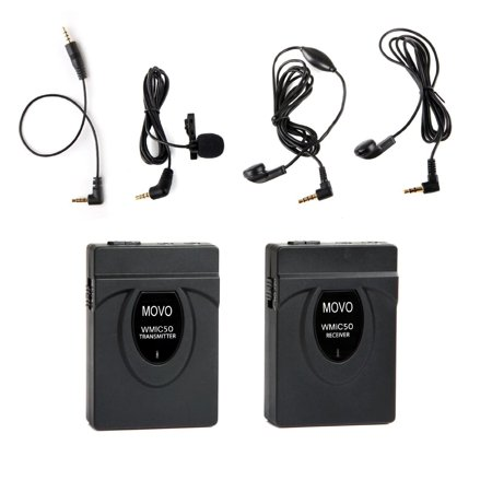 Movo WMIC50 2.4GHz Wireless Lavalier Microphone System with Integrated 164-foot Range