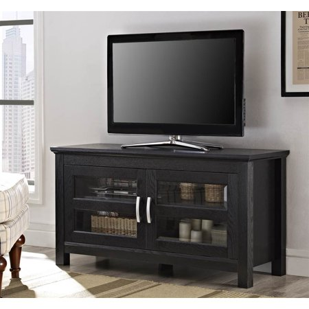 Modern TV Console w Double Glass Door Front – Columbus