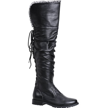 Misfits Halloween 7 Inch (Women's 1 inch Heeled Over the Knee Black Pirate Boot Halloween Costume)