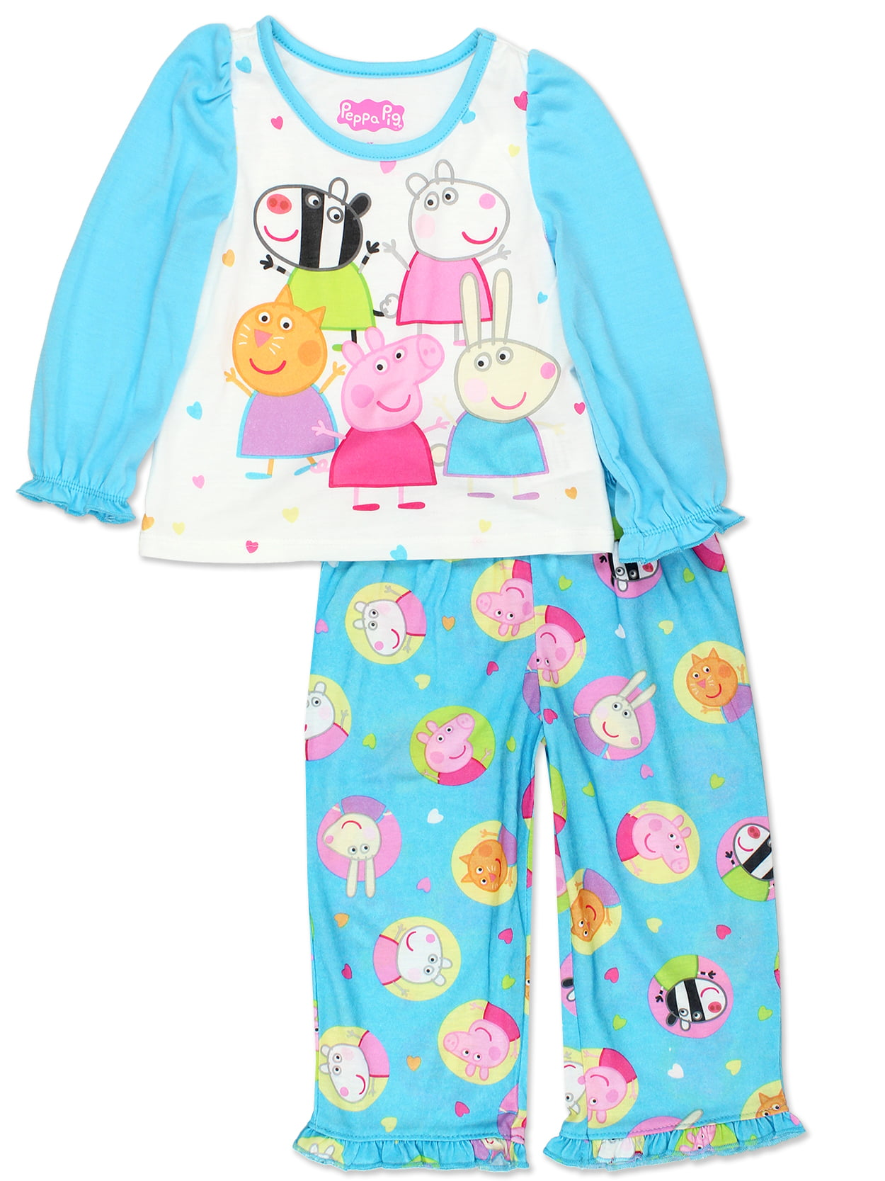 Peppa Pig Sporty Long Sleeve 2pc Sleep Set Little Girls /& Big Girls
