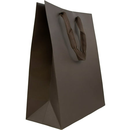 JAM Paper Heavy Duty Kraft Gift Bags, Large, 10 x 13 x 5, Chocolate Brown Matte Recycled, 3 Bags/Pack