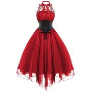 Women Lace Panel Cross Dress Back Gothic Corset Dress