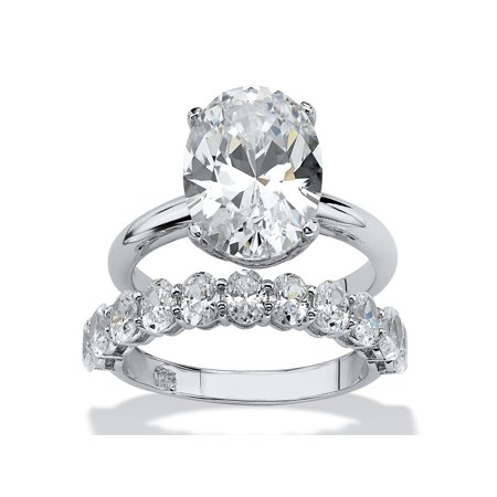 - 6.91 TCW Oval-Cut Cubic Zirconia Platinum over Sterling Silver Wedding Band Set