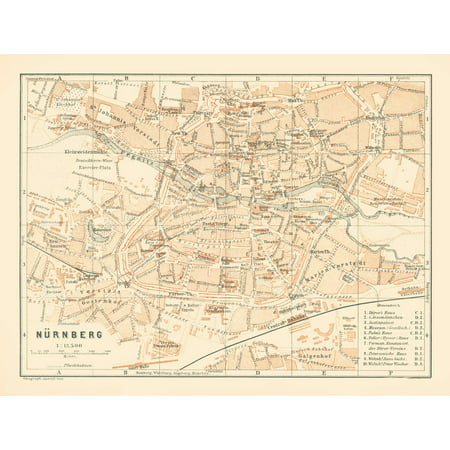 Map Of Germany Nuremberg.International Map Nuremberg Germany Baedeker 1896 30 25 X 23