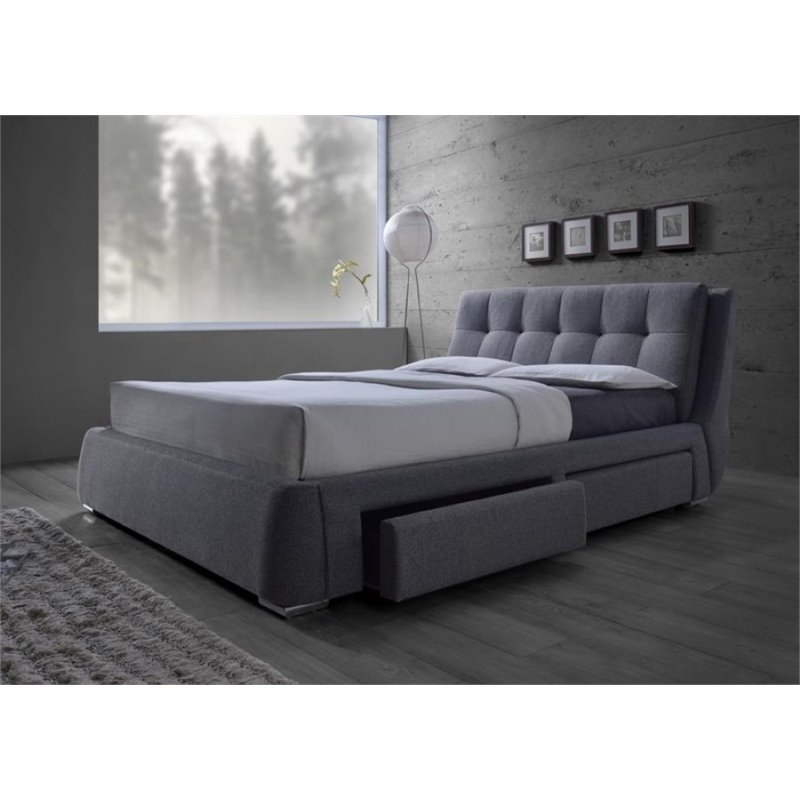 Coaster Fenbrook Upholstered Queen Platform Bed with Storage in Gray