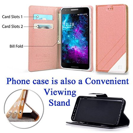 "for 5"" Alcatel ZIP A30 KORA Case Fold Wallet Phone Case Hybrid Kick Stand Pouch Card Pocket Purse Screen Flip Cover Rose"