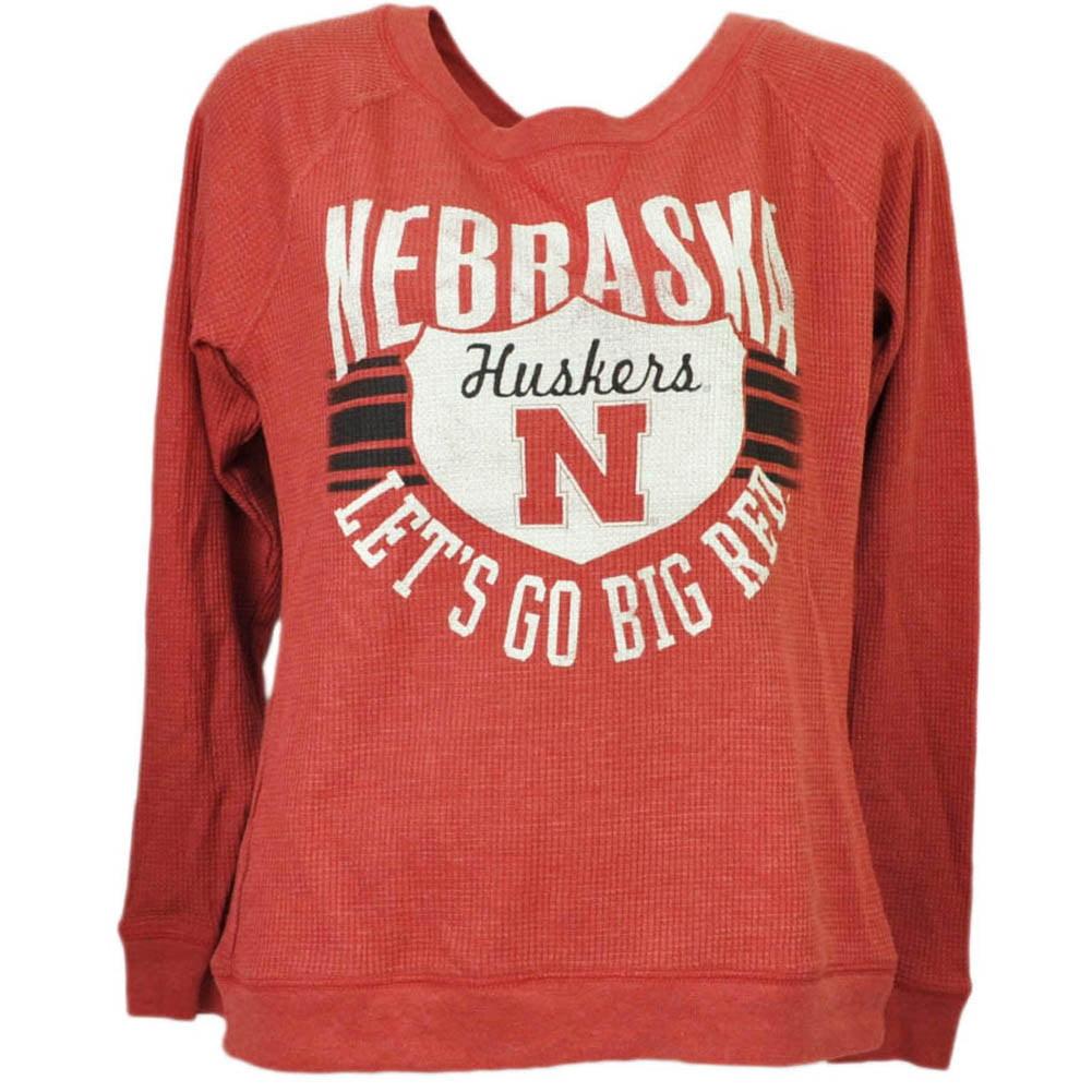 NCAA Nebraska Cornhuskers Womens Lets Go Big Red Pullover Tshirt Long Sleeve XL by T University